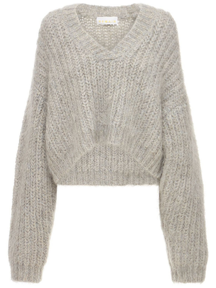 REMAIN Stinna Acrylic Blend Knit Polo Sweater in grey