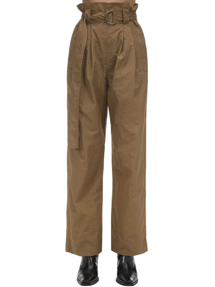 GANNI Techno Nylon Baggy Pants in camel