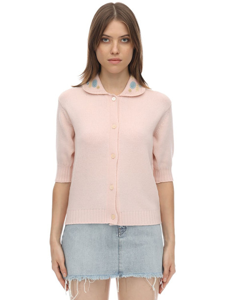 MIU MIU Embroidered Virgin Wool Knit Top in pink