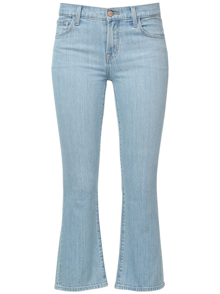 J BRAND Selena Mid Rise Cotton Blend Denim Jeans in blue