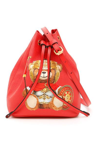 Moschino Roman Teddy Bear Bucket Bag in red