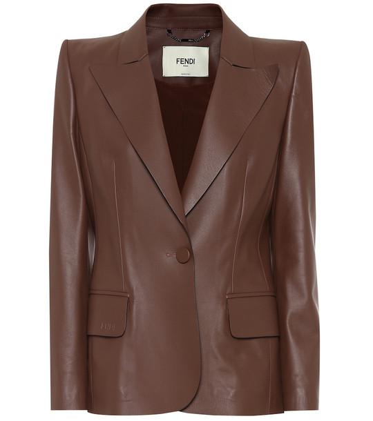 Fendi Leather blazer in brown