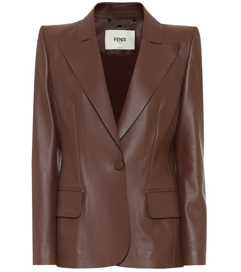Fendi Leather blazer in brown