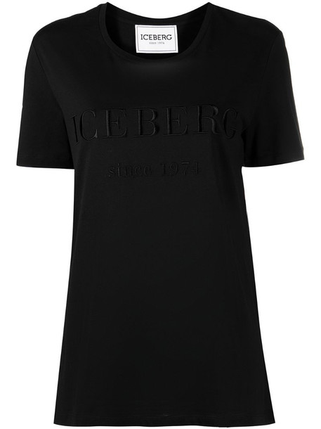 Iceberg logo-embroidered T-shirt in black