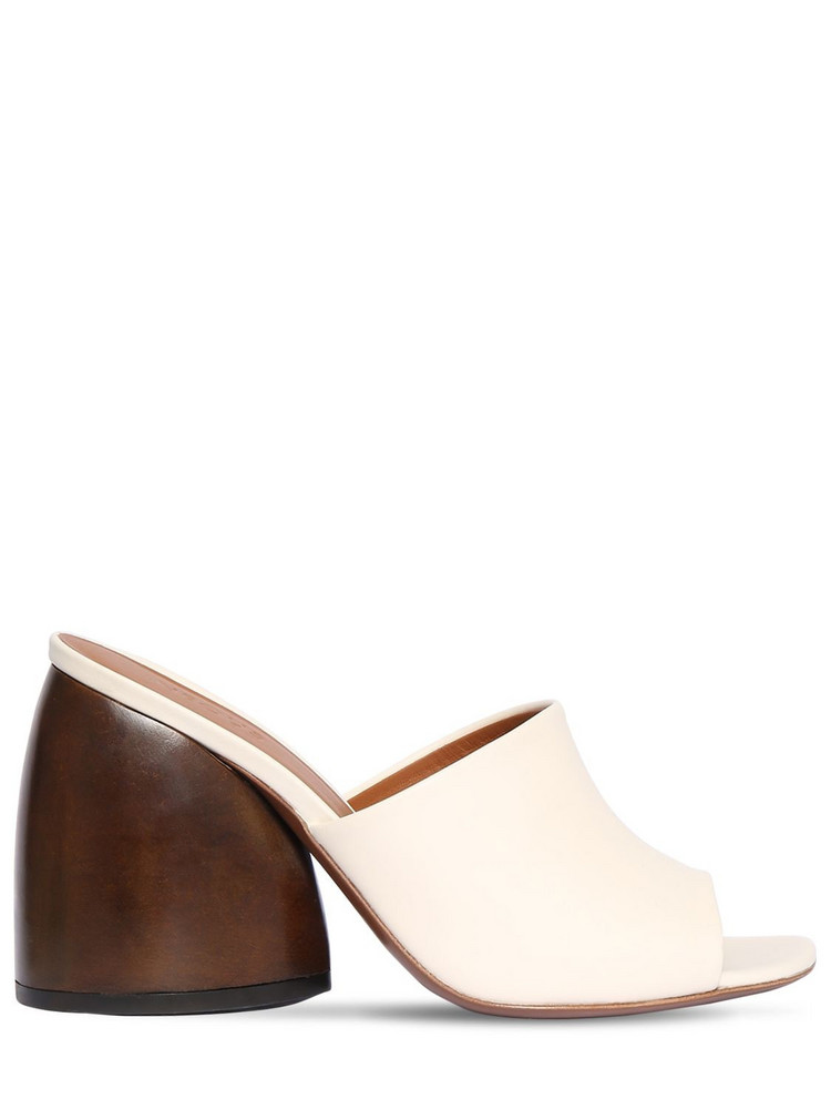 NEOUS 95mm Leather Slide Sandals in white