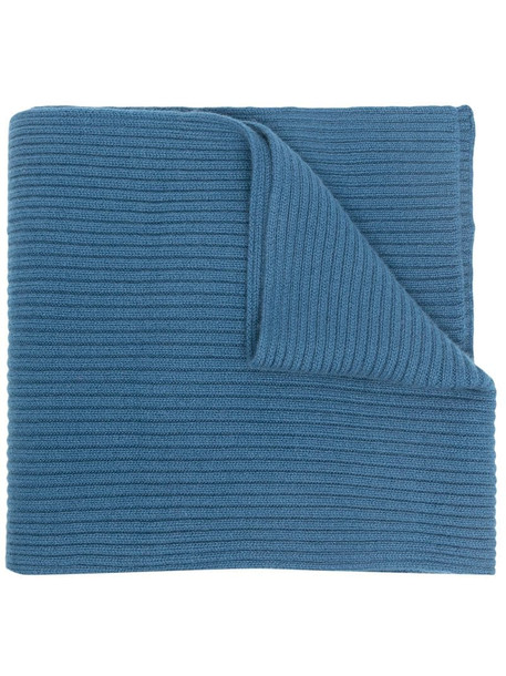 N.Peal ribbed-knit cashmere scarf in blue