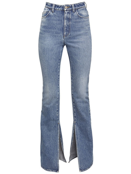 THE ATTICO Cotton Denim Flared Jeans W/ankle Slits