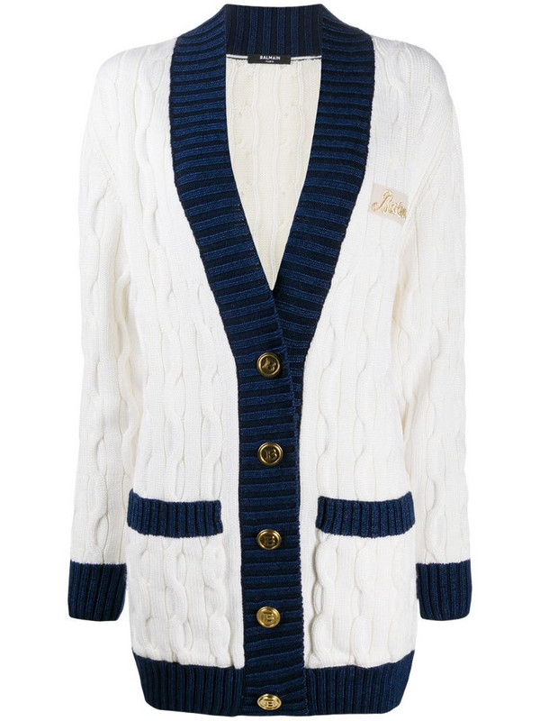 Balmain cable knit V-neck cardigan in white
