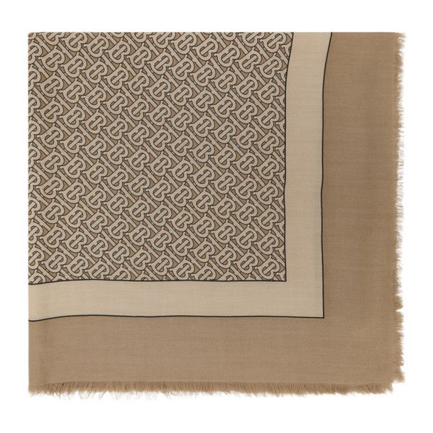 Burberry Tan Cashmere Monogram Scarf in camel