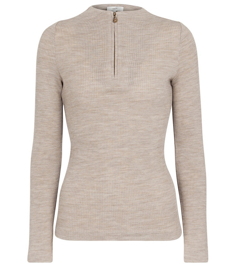 Vince Ribbed-knit wool-blend sweater in beige