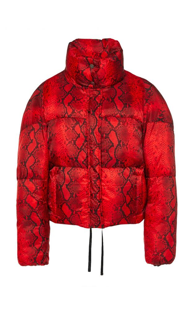 Apparis Jamie Python Short Puffer Coat in red