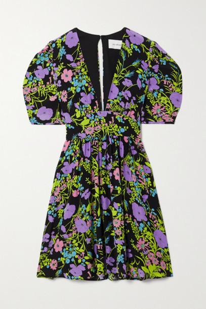 Les Rêveries - Gigi Belted Floral-print Cotton Mini Dress - Purple