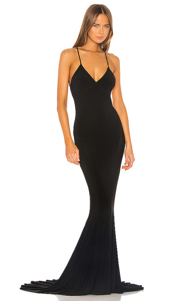 Norma Kamali Low Back Slip Mermaid Fishtail Gown in Black