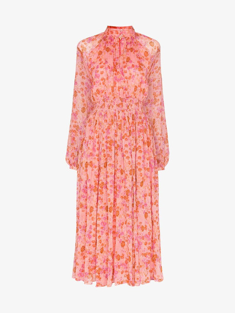 By Timo Smocked waist floral midi dress in pink