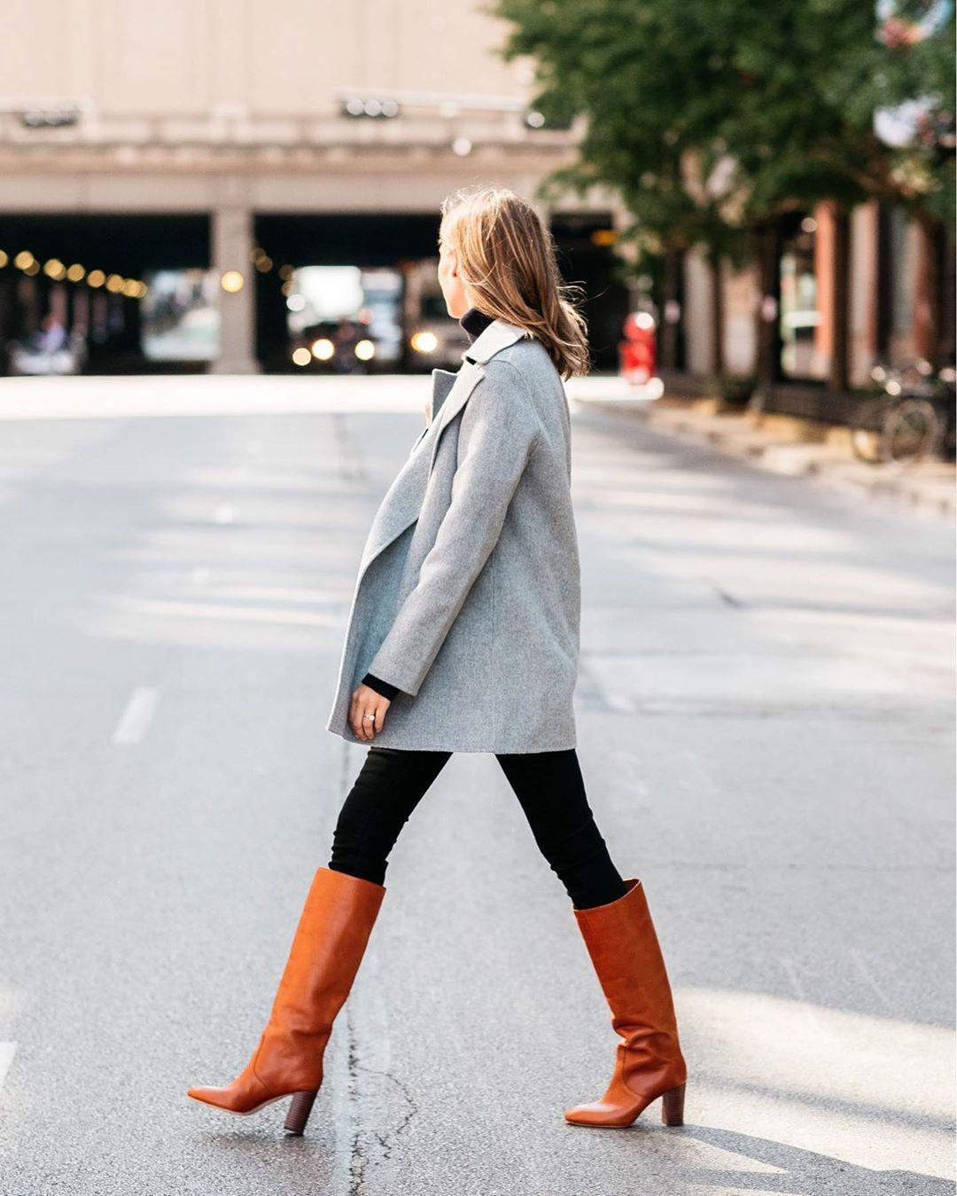 coat grey coat knee high boots black pants skinny pants turtleneck
