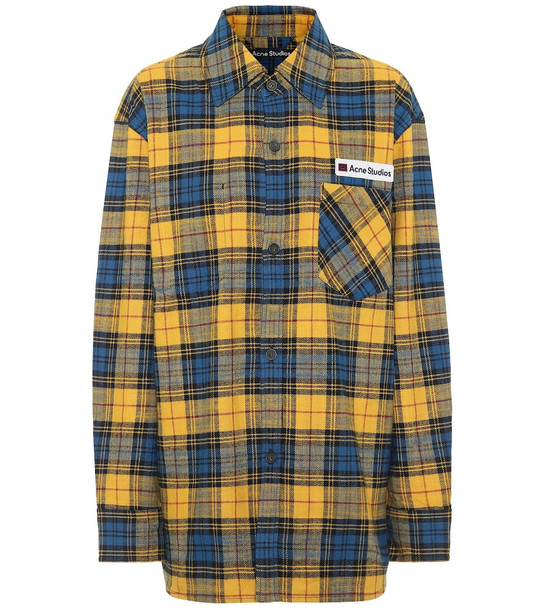 Acne Studios Checked cotton-flannel shirt in yellow