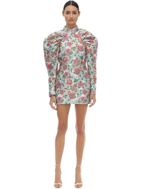 ROTATE Puffed Sleeve Brocade Mini Dress in pink
