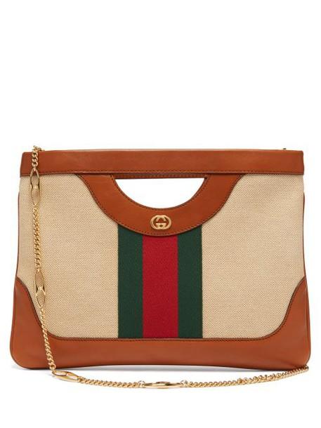 Gucci - Web Stripe Canvas And Leather Tote Bag - Womens - Beige Multi