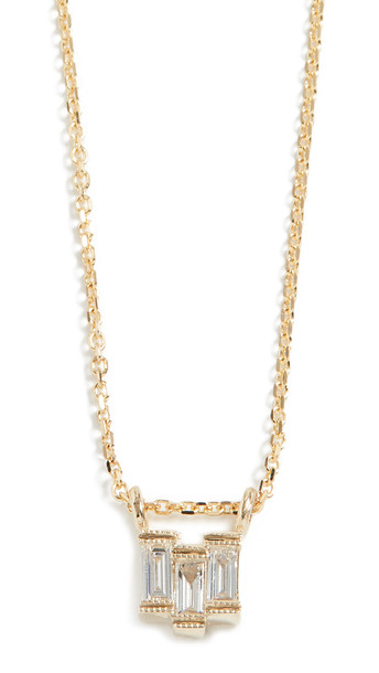 Jennie Kwon Designs 14k Diamond Baguette Step Necklace in gold / yellow