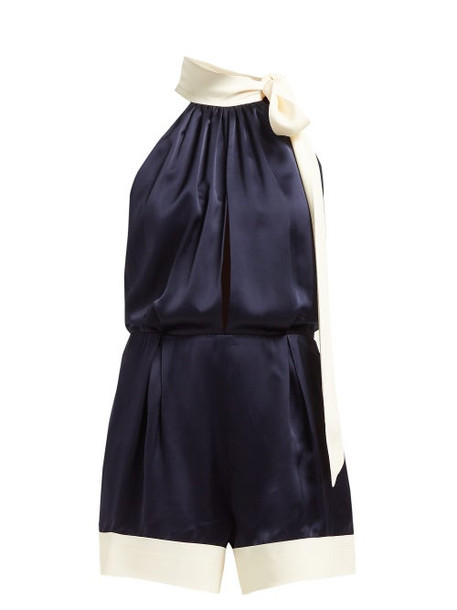 Odyssee - Claret Contrast Panel Tie Neck Satin Playsuit - Womens - Navy