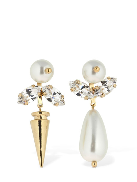 SIMONE ROCHA Small Embellished Asymmetrical Earrings in gold / white