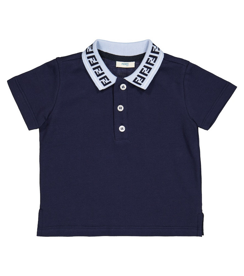 Fendi Kids Baby FF cotton polo shirt in blue