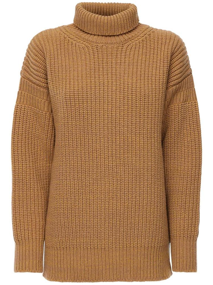 MARNI Rib Knit Wool Turtleneck Sweater in camel