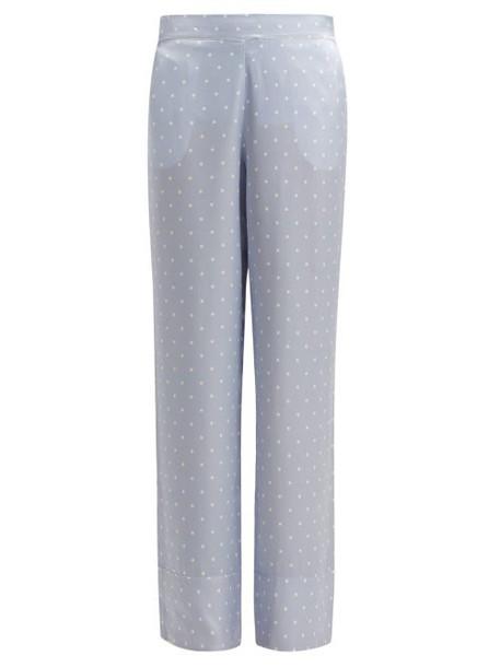 Asceno - Polka Dot Sandwashed Silk Pyjama Trousers - Womens - Light Blue