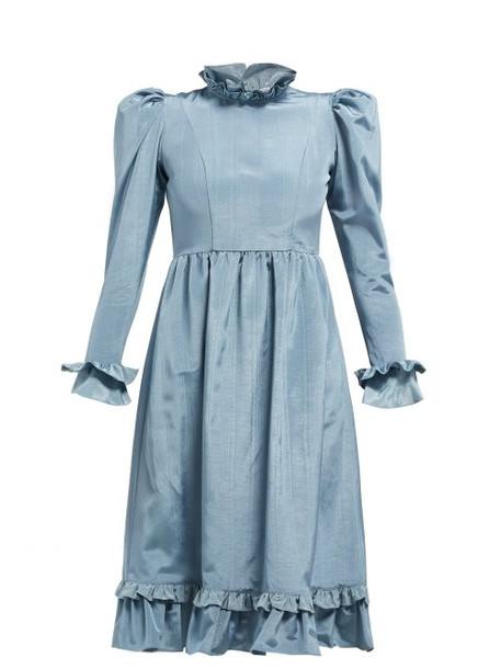 Batsheva - Moire High Neck Ruffled Dress - Womens - Blue