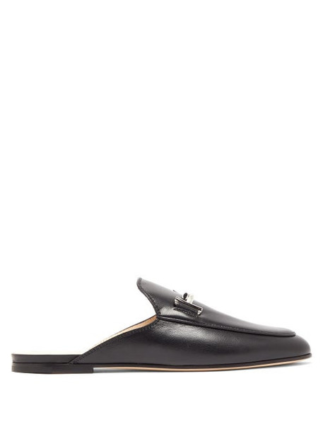 Tod's - Double T Leather Backless Loafers - Womens - Black