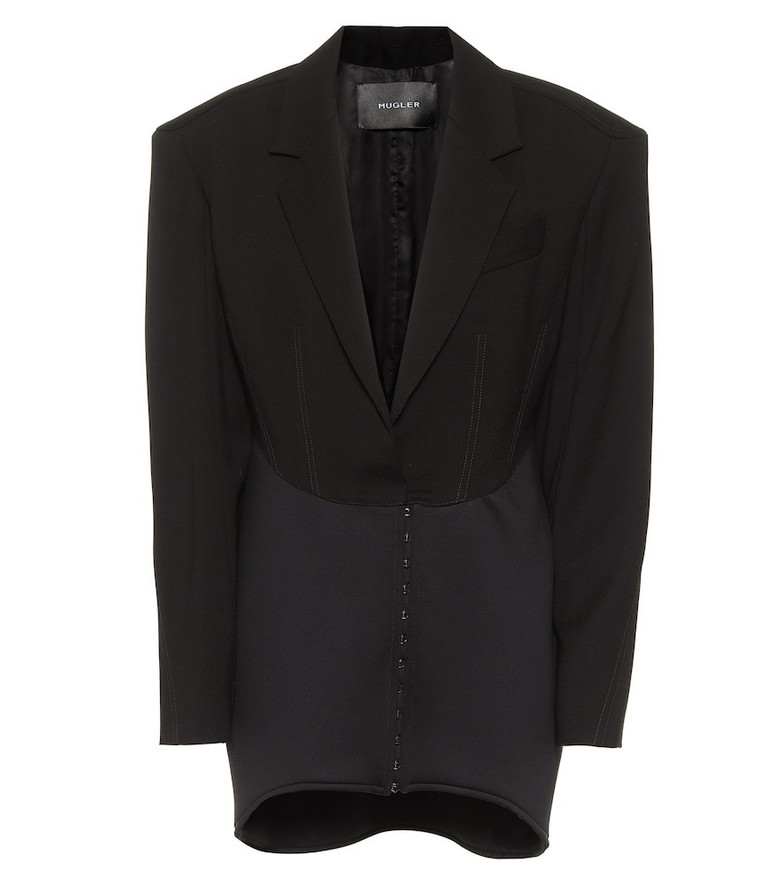 Mugler Wool and neoprene minidress in black