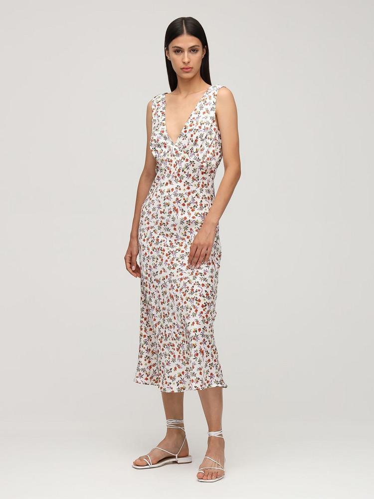 CIAO LUCIA Caterina Print Silk Midi Dress in white / multi