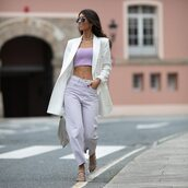jeans,high waisted jeans,straight jeans,sandal heels,crop tops,white blazer,bag
