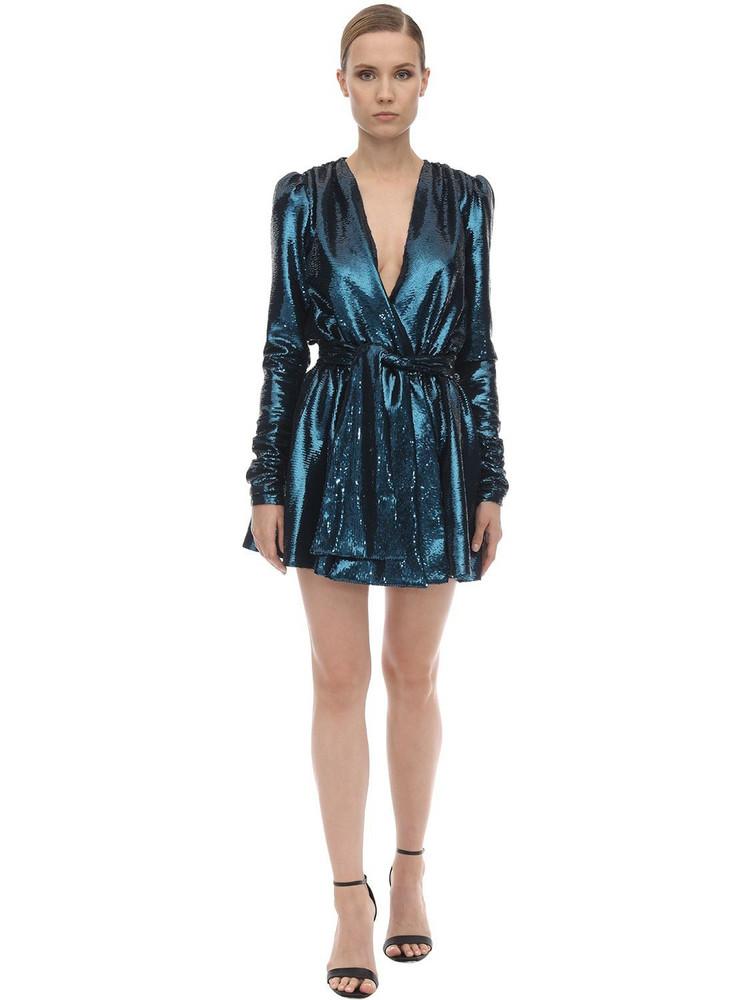 AMEN Sequined Mini Dress in blue