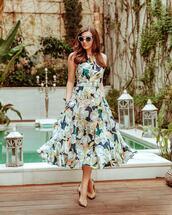 dress,midi dress,floral dress,sleeveless dress,pumps,elegant dress