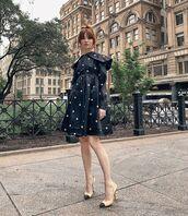 shoes,pumps,chanel,black dress,polka dots,long sleeve dress,little black dress