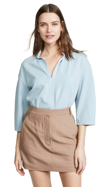 Tibi Shirred V Neck Top in blue