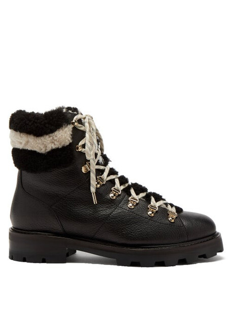 Jimmy Choo - Eshe Shearling-lined Leather Boots - Womens - Black