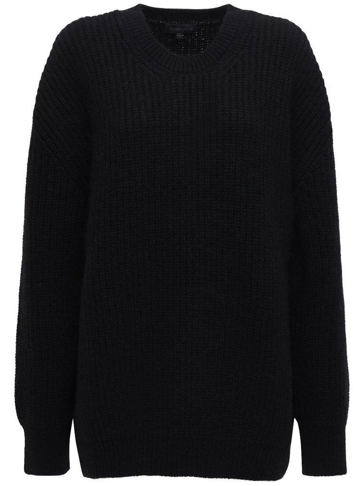 ANN DEMEULEMEESTER Ribbed Knit Wool Crewneck Sweater in black