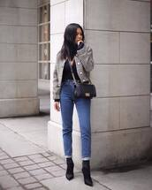 jacket,topshop,jeans,black boots,heel boots,crossbody bag,black top