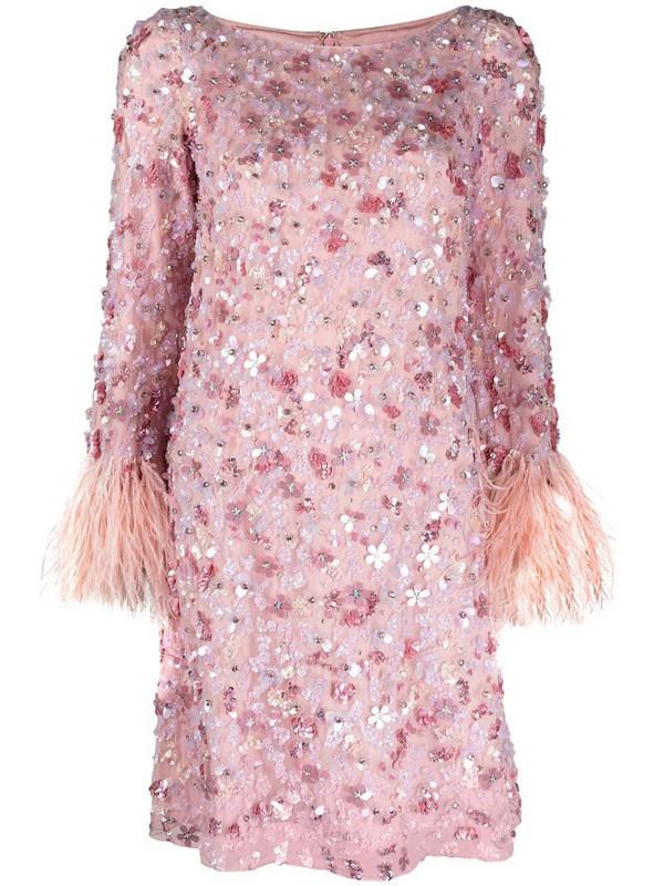 Jenny Packham floral sequin-embellished short dress in pink