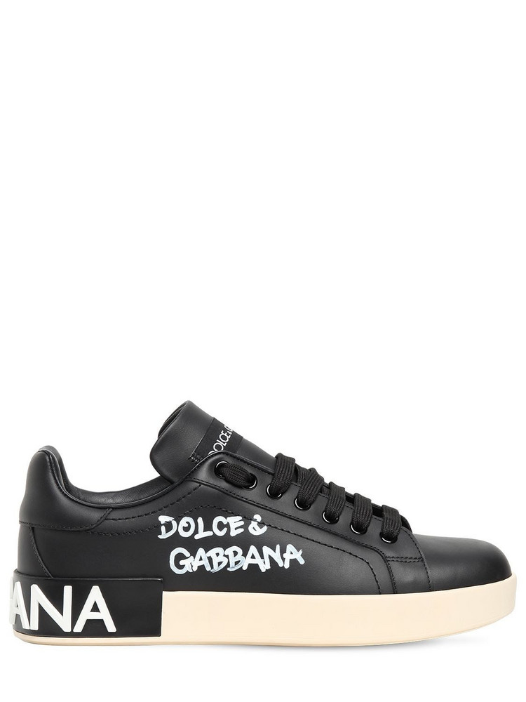 DOLCE & GABBANA 20mm Portofino Leather Sneakers in black
