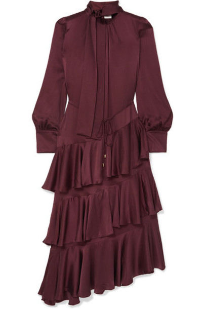 Zimmermann - Espionage Pussy-bow Ruffled Silk Dress - Chocolate