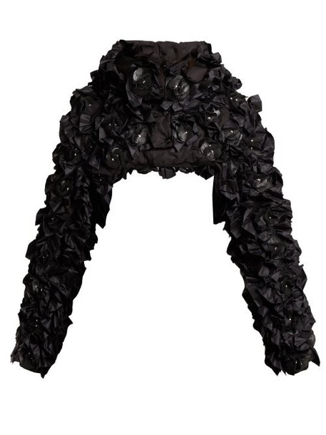 6 Moncler Noir Kei Ninomiya - Pearl High Neck Bomber Jacket - Womens - Black