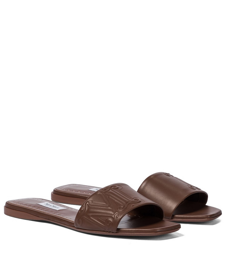 Max Mara Musa leather slides in brown