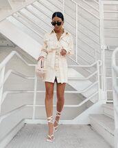 dress,denim dress,long sleeve dress,shirt dress,white sandals,handbag