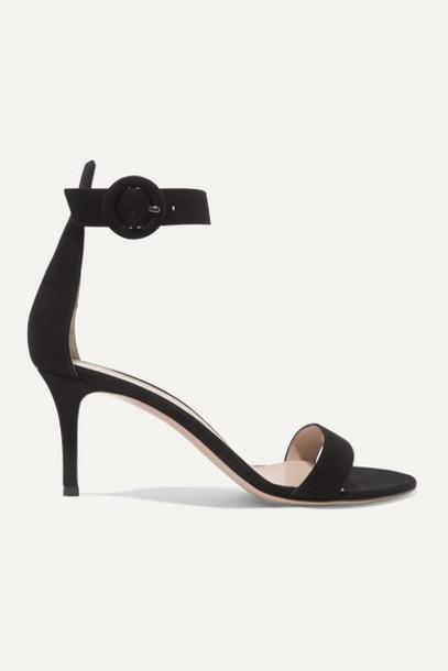 Gianvito Rossi - Portofino 70 Suede Sandals - Black