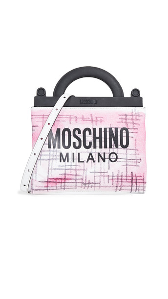 Moschino New Shopping Brushstroke Tweed Bag in pink / print