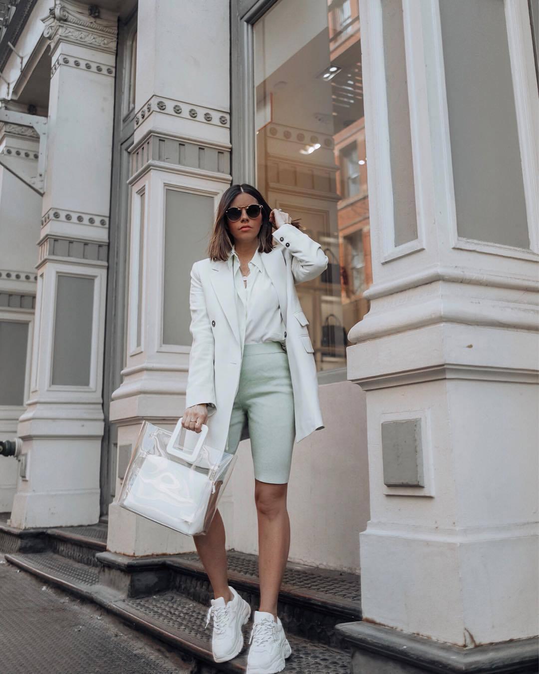 shorts white blazer white sneakers platform sneakers white shirt transparent  bag