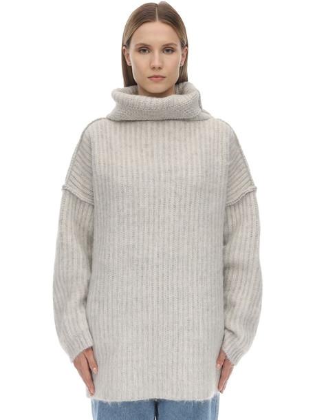 MAISON MARGIELA Wide Collar Mohair Blend Knit Sweater in grey